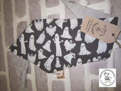 the posh dog clothing company bandanna black ghosts 1