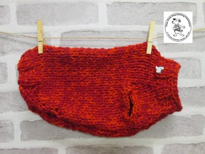 the posh dog clothing company knitted jumper weekender red sparkle 1