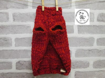the posh dog clothing company knitted jumper weekender red sparkle 4