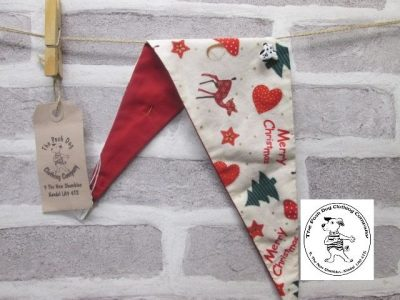 the posh dog clothing company Christmas bandannas small bambi and heart red 3