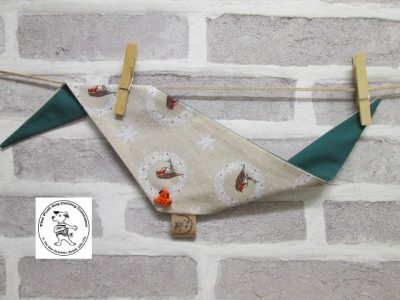 the posh dog clothing company bandannas christmas robin green 3