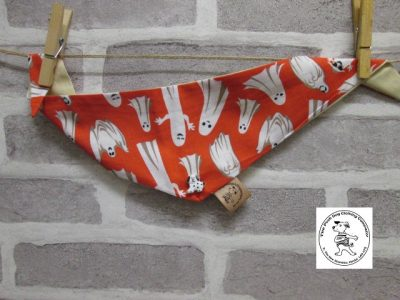 the posh dog clothing company halloween bandanna red ghosts cream 1