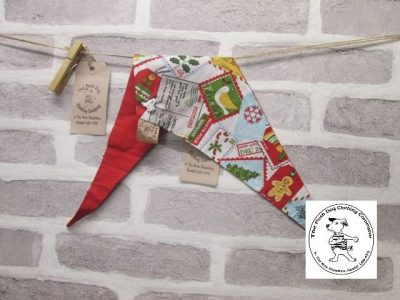 the posh dog clothing company Christmas bandannas sm santa stamps red 1