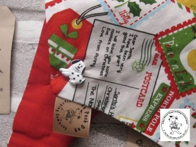 the posh dog clothing company Christmas bandannas sm santa stamps red 2