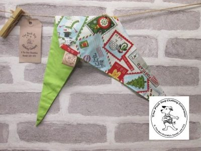 the posh dog clothing company Christmas bandannas small santa stamps lime 1