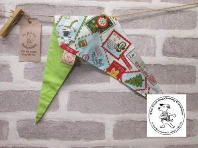 the posh dog clothing company Christmas bandannas small santa stamps lime 1
