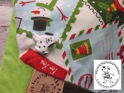 the posh dog clothing company Christmas bandannas small santa stamps lime 2