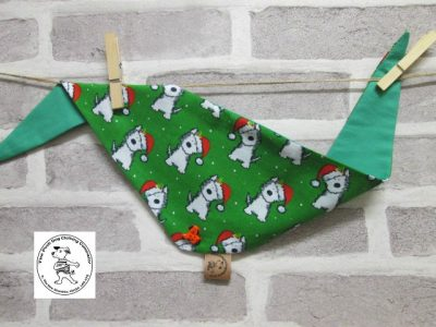 the posh dog clothing company bandanna christmas geeen weatie green 1