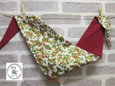 the posh dog clothing company bandanna christmas holly leaves red 1
