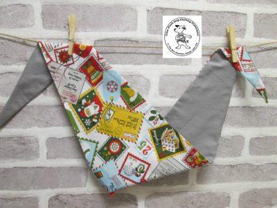 the posh dog clothing company bandanna christmas stamps grey 1