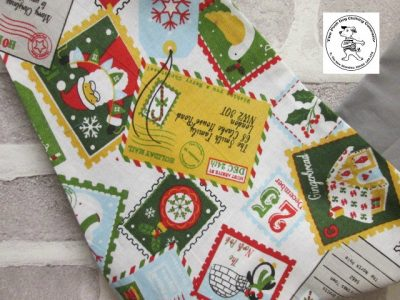the posh dog clothing company bandanna christmas stamps grey 4