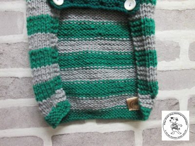 the posh dog clothing company jumper big bold stripes silver emerald 5