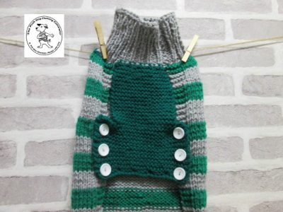 the posh dog clothing company jumper big bold stripes silver emerald 6