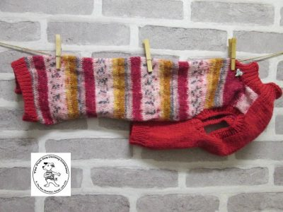 the posh dog clothing company jumpers stripes reds gold 1