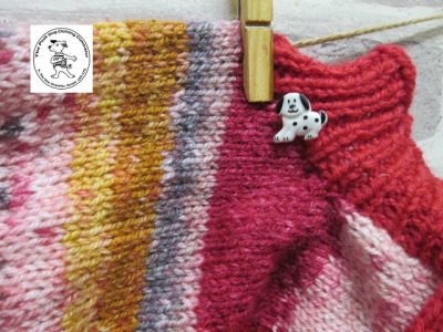 the posh dog clothing company jumpers stripes reds gold 2