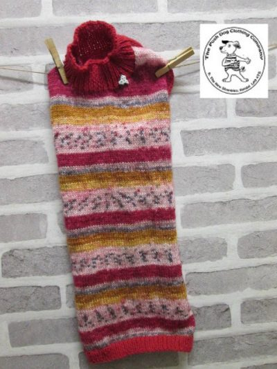 the posh dog clothing company jumpers stripes reds gold 4