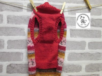 the posh dog clothing company jumpers stripes reds gold 6