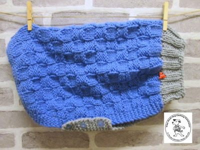 the posh dog clothing company basket weave jumper blue silver 1