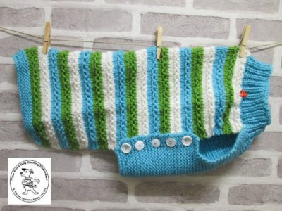 the posh dog clothing company chain link jumper cream blue and green 1