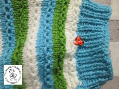 the posh dog clothing company chain link jumper cream blue and green 3