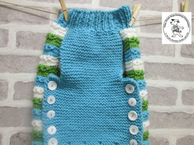 the posh dog clothing company chain link jumper cream blue and green 4