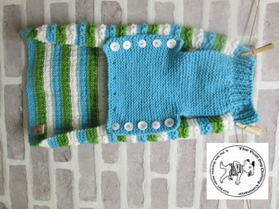 the posh dog clothing company chain link jumper cream blue and green 6 rotated