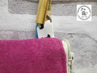 the posh dog clothing company walkies wool purse bright pink 4
