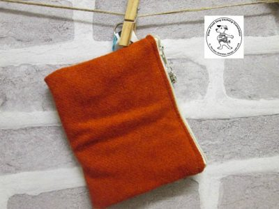 the posh dog clothing company walkies wool purse orange 1